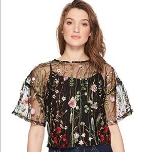 Romeo & Juliet Couture Sheer Embroidered Top